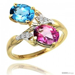 14k Gold ( 8x6 mm ) Double Stone Engagement Swiss Blue & Pink Topaz Ring w/ 0.04 Carat Brilliant Cut Diamonds & 2.34 Carats