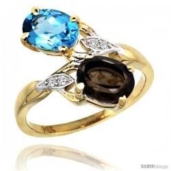 14k Gold ( 8x6 mm ) Double Stone Engagement Swiss Blue & Smoky Topaz Ring w/ 0.04 Carat Brilliant Cut Diamonds & 2.34 Carats