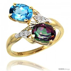 14k Gold ( 8x6 mm ) Double Stone Engagement Swiss Blue & Mystic Topaz Ring w/ 0.04 Carat Brilliant Cut Diamonds & 2.34 Carats
