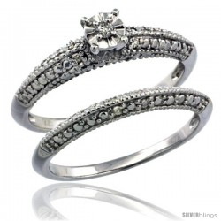 Sterling Silver Diamond Vintage Style 2-Pc. 9-Stone Engagement Ring Set Rhodium Finish -Style Rdia209