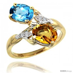 14k Gold ( 8x6 mm ) Double Stone Engagement Swiss Blue Topaz & Citrine Ring w/ 0.04 Carat Brilliant Cut Diamonds & 2.34 Carats
