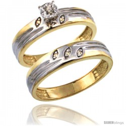 Gold Plated Sterling Silver Ladies 2-Piece Diamond Engagement Wedding Ring Set 3/8 in wide