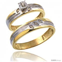Gold Plated Sterling Silver 2-Piece Diamond Wedding Engagement Ring Set for Him & Her 4.5mm & 5mm wide -Style Agy153em