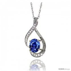 14K White Gold Natural Blue Sapphire Pendant, 3/4 in long