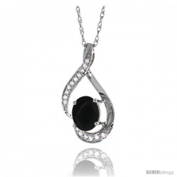 14K White Gold Natural Black Onyx Pendant, 3/4 in long