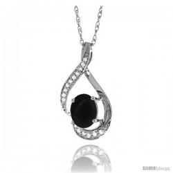 14K White Gold Natural Black Onyx Pendant, 3/4 in long