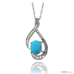 14K White Gold Natural Turquoise Pendant, 3/4 in long