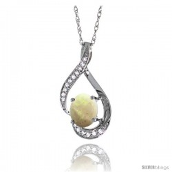 14K White Gold Natural Opal Pendant, 3/4 in long