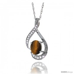 14K White Gold Natural Tiger Eye Pendant, 3/4 in long