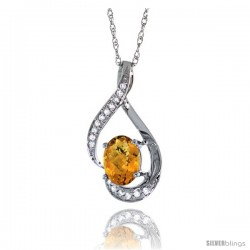 14K White Gold Natural Whisky Quartz Pendant, 3/4 in long