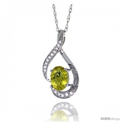 14K White Gold Natural Lemon Quartz Pendant, 3/4 in long