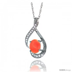 14K White Gold Natural Coral Pendant, 3/4 in long