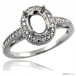 Sterling Silver Diamond Vintage Style Semi-Mount (8x6 mm Oval Stone Ring w/ 0.063 Carat Brilliant Cut