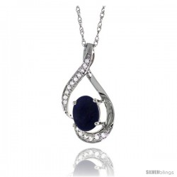 14K White Gold Natural Lapis Pendant, 3/4 in long