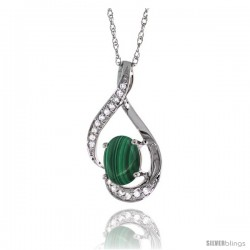 14K White Gold Natural Malachite Pendant, 3/4 in long