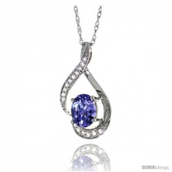 14K White Gold Natural Tanzanite Pendant, 3/4 in long