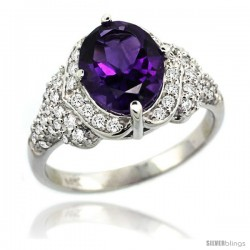 14k White Gold Natural Amethyst Ring 10x8 mm Oval Shape Diamond Halo, 1/2 in wide