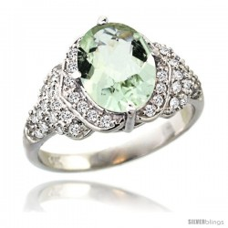 14k White Gold Natural Green Amethyst Ring 10x8 mm Oval Shape Diamond Halo, 1/2 in wide