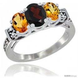 14K White Gold Natural Garnet & Citrine Ring 3-Stone Oval with Diamond Accent