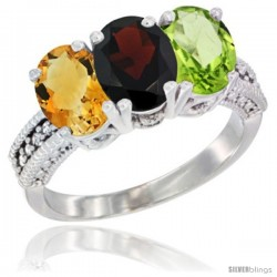 14K White Gold Natural Citrine, Garnet & Peridot Ring 3-Stone 7x5 mm Oval Diamond Accent
