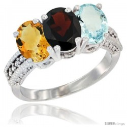 14K White Gold Natural Citrine, Garnet & Aquamarine Ring 3-Stone 7x5 mm Oval Diamond Accent