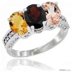 14K White Gold Natural Citrine, Garnet & Morganite Ring 3-Stone 7x5 mm Oval Diamond Accent