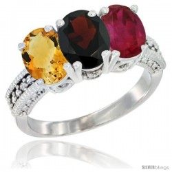 14K White Gold Natural Citrine, Garnet & Ruby Ring 3-Stone 7x5 mm Oval Diamond Accent