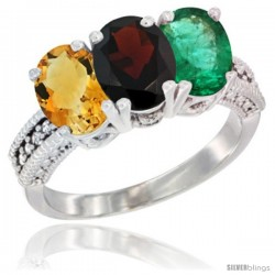 14K White Gold Natural Citrine, Garnet & Emerald Ring 3-Stone 7x5 mm Oval Diamond Accent