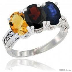14K White Gold Natural Citrine, Garnet & Blue Sapphire Ring 3-Stone 7x5 mm Oval Diamond Accent
