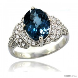 14k White Gold Natural London Blue Topaz Ring 10x8 mm Oval Shape Diamond Halo, 1/2 in wide