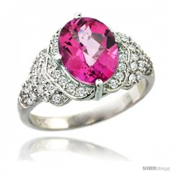 14k White Gold Natural Pink Topaz Ring 10x8 mm Oval Shape Diamond Halo, 1/2 in wide