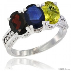 14K White Gold Natural Garnet, Blue Sapphire & Lemon Quartz Ring 3-Stone 7x5 mm Oval Diamond Accent