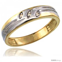 Gold Plated Sterling Silver Ladies Diamond Wedding Ring 5/32 in wide -Style Agy153lb