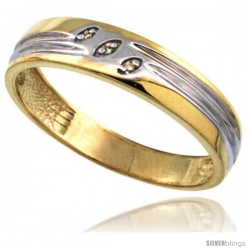 Gold Plated Sterling Silver Mens Diamond Wedding Ring 3/16 in wide -Style Agy153mb