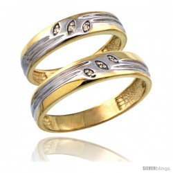 Gold Plated Sterling Silver Diamond 2 Piece Wedding Ring Set His 5mm & Hers 4.5mm -Style Agy153w2