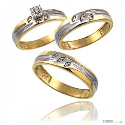 Gold Plated Sterling Silver Diamond Trio Wedding Ring Set His 5mm & Hers 4.5mm 0.075 cttw Ladies 5-10 Men 8 to 14