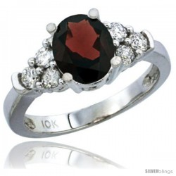 14k White Gold Ladies Natural Garnet Ring oval 9x7 Stone Diamond Accent