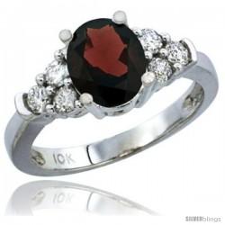14k White Gold Ladies Natural Garnet Ring oval 9x7 Stone Diamond Accent