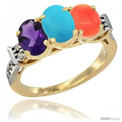 10K Yellow Gold Natural Amethyst, Turquoise & Coral Ring 3-Stone Oval 7x5 mm Diamond Accent