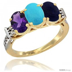 10K Yellow Gold Natural Amethyst, Turquoise & Lapis Ring 3-Stone Oval 7x5 mm Diamond Accent