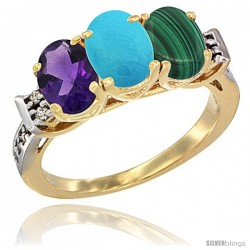 10K Yellow Gold Natural Amethyst, Turquoise & Malachite Ring 3-Stone Oval 7x5 mm Diamond Accent