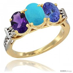 10K Yellow Gold Natural Amethyst, Turquoise & Tanzanite Ring 3-Stone Oval 7x5 mm Diamond Accent
