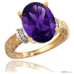 10k Yellow Gold Diamond Amethyst Ring 5.5 ct Oval 14x10 Stone