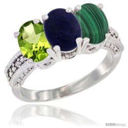 10K White Gold Natural Peridot, Lapis & Malachite Ring 3-Stone Oval 7x5 mm Diamond Accent