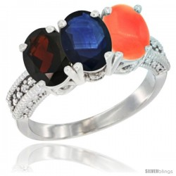 14K White Gold Natural Garnet, Blue Sapphire & Coral Ring 3-Stone 7x5 mm Oval Diamond Accent