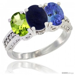 10K White Gold Natural Peridot, Lapis & Tanzanite Ring 3-Stone Oval 7x5 mm Diamond Accent