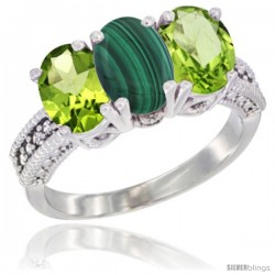 10K White Gold Natural Malachite & Peridot Sides Ring 3-Stone Oval 7x5 mm Diamond Accent