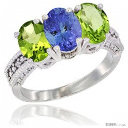 10K White Gold Natural Tanzanite & Peridot Sides Ring 3-Stone Oval 7x5 mm Diamond Accent