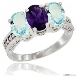 10K White Gold Natural Amethyst & Aquamarine Sides Ring 3-Stone Oval 7x5 mm Diamond Accent