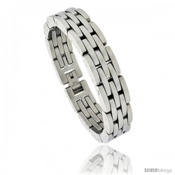Gent's Stainless Steel Bar Bracelet, 5/8 in wide, 8 1/2 in long -Style Bss136